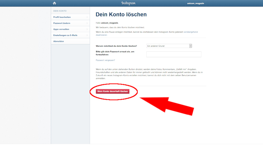 Secret.De Account Löschen