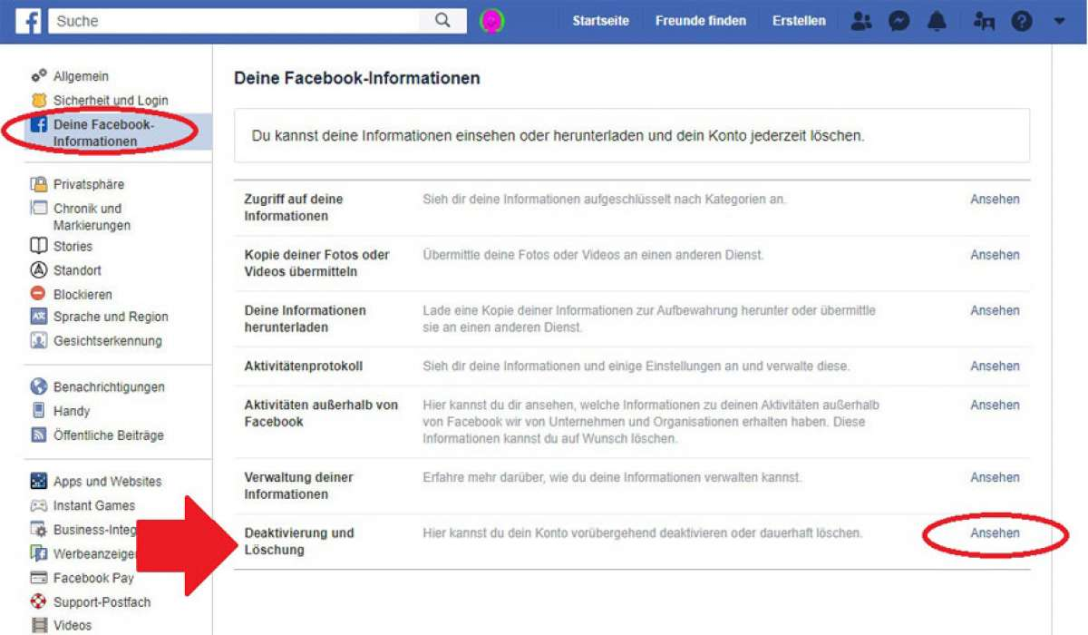 Facebook Account löschen Informationen